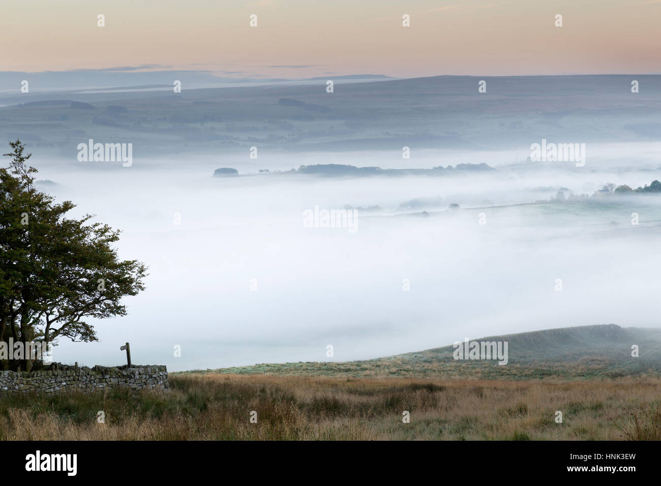 Hadrian's Wall: low-lying autumnal mist adds atmosphere to the view from Hotbank Crags, looking south towards - Stock Image