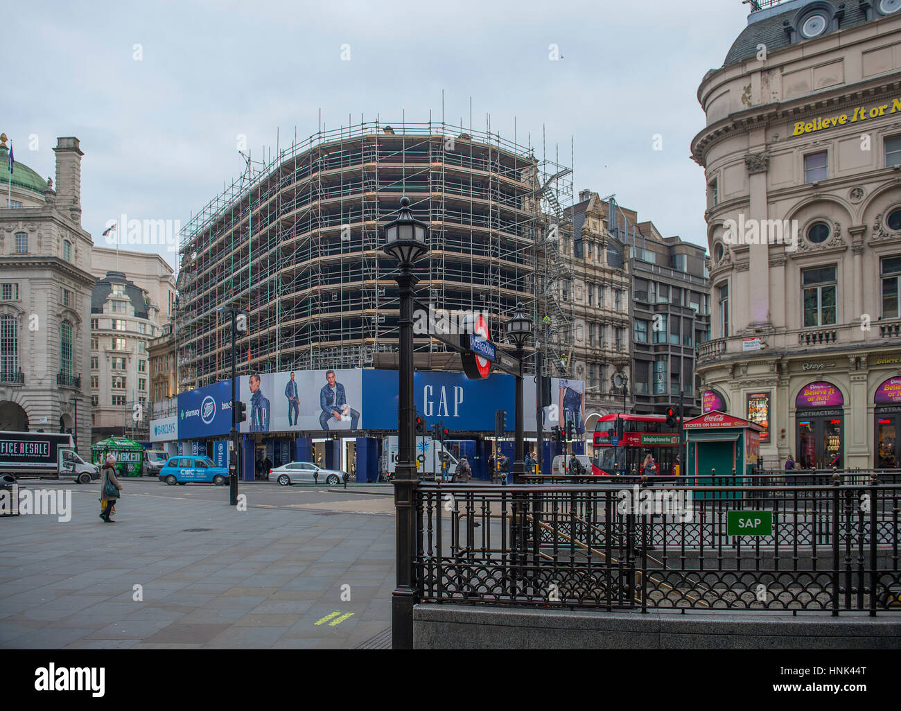 Piccadilly Circus advertising boards switched off allowing a single new curved ultra-high definition screen to be - Stock Image