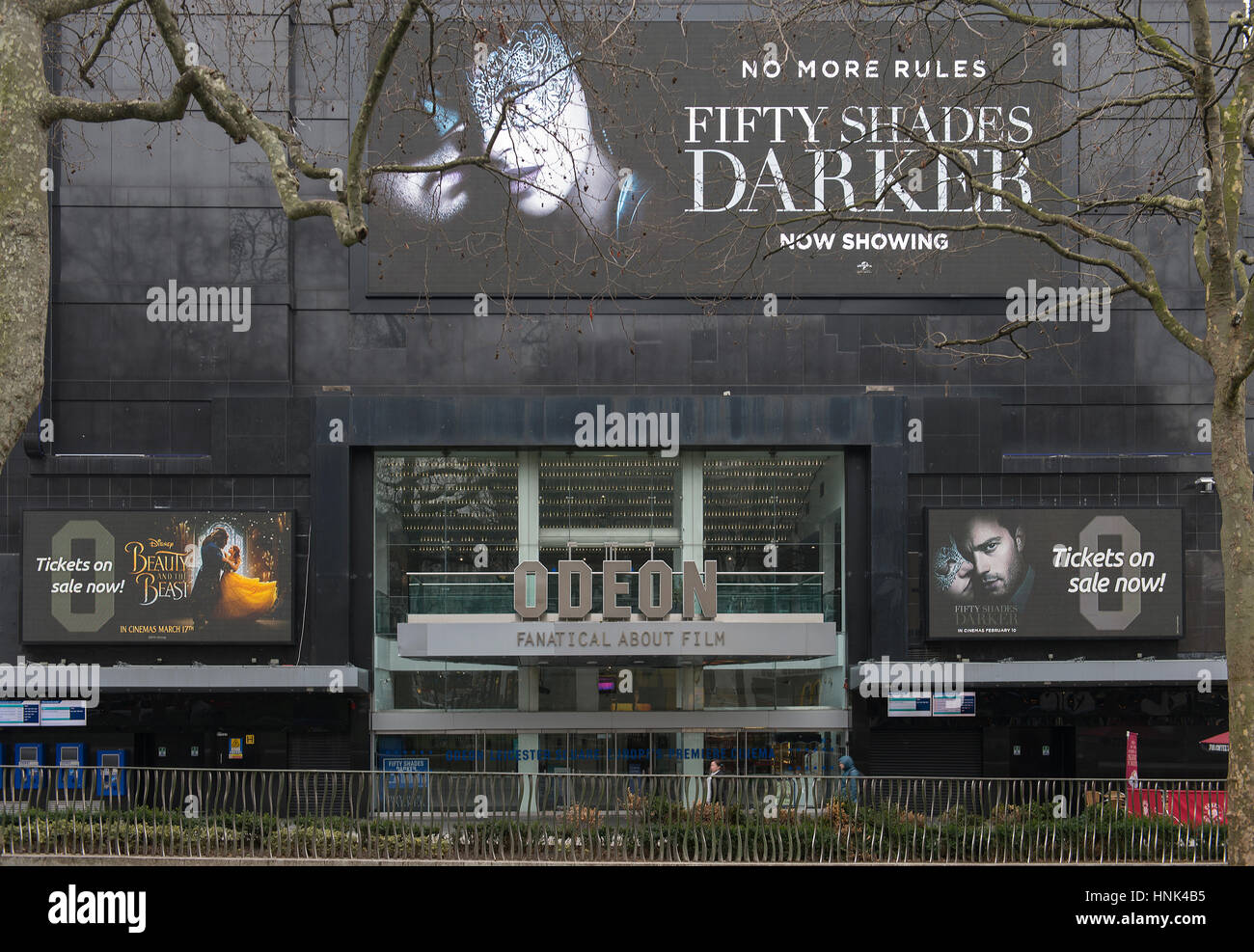 Odeon Leicester Square in London's West End on 14th February 2017 showing Fifty Shades Darker film. - Stock Image