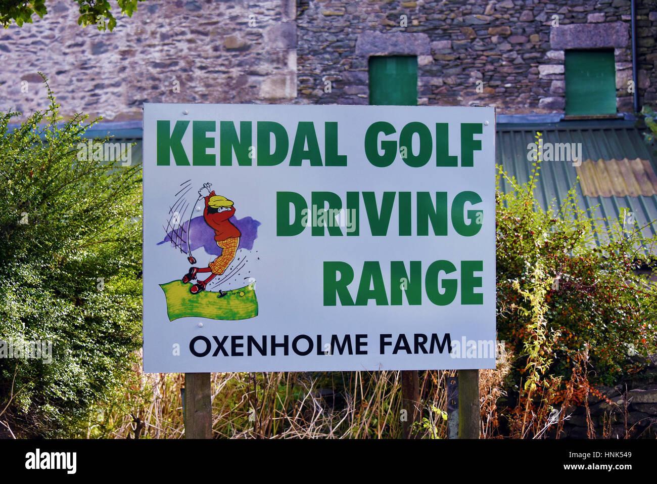 Signboard, Kendal Golf Driving Range. Oxenholme Farm, Oxenholm, Cumbria, England, United Kingdom, Europe. - Stock Image