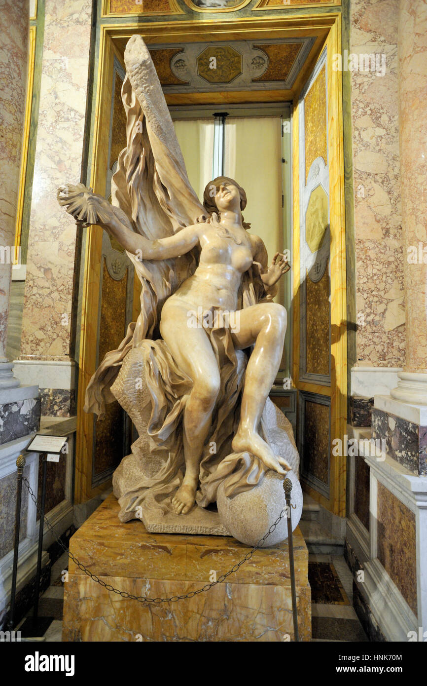 italy, rome, galleria borghese, Gian Lorenzo Bernini, marble statue of the Truth Unveiled by Time (1646-1652) - Stock Image