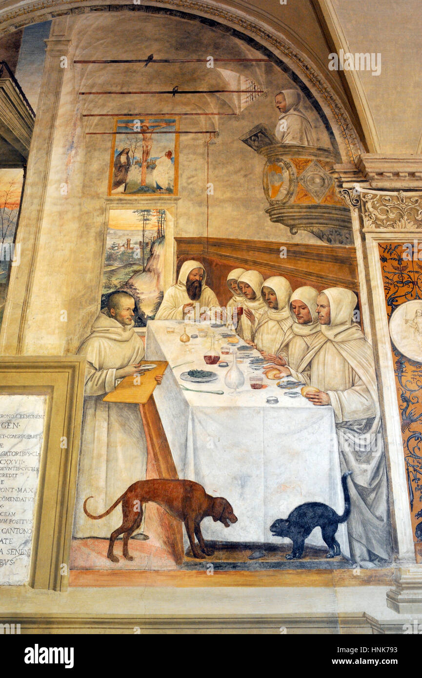 renaissance frescos, st Benedict life, painting by Il Sodoma, Chiostro Grande (Great Cloister), Abbey of Monte Oliveto - Stock Image