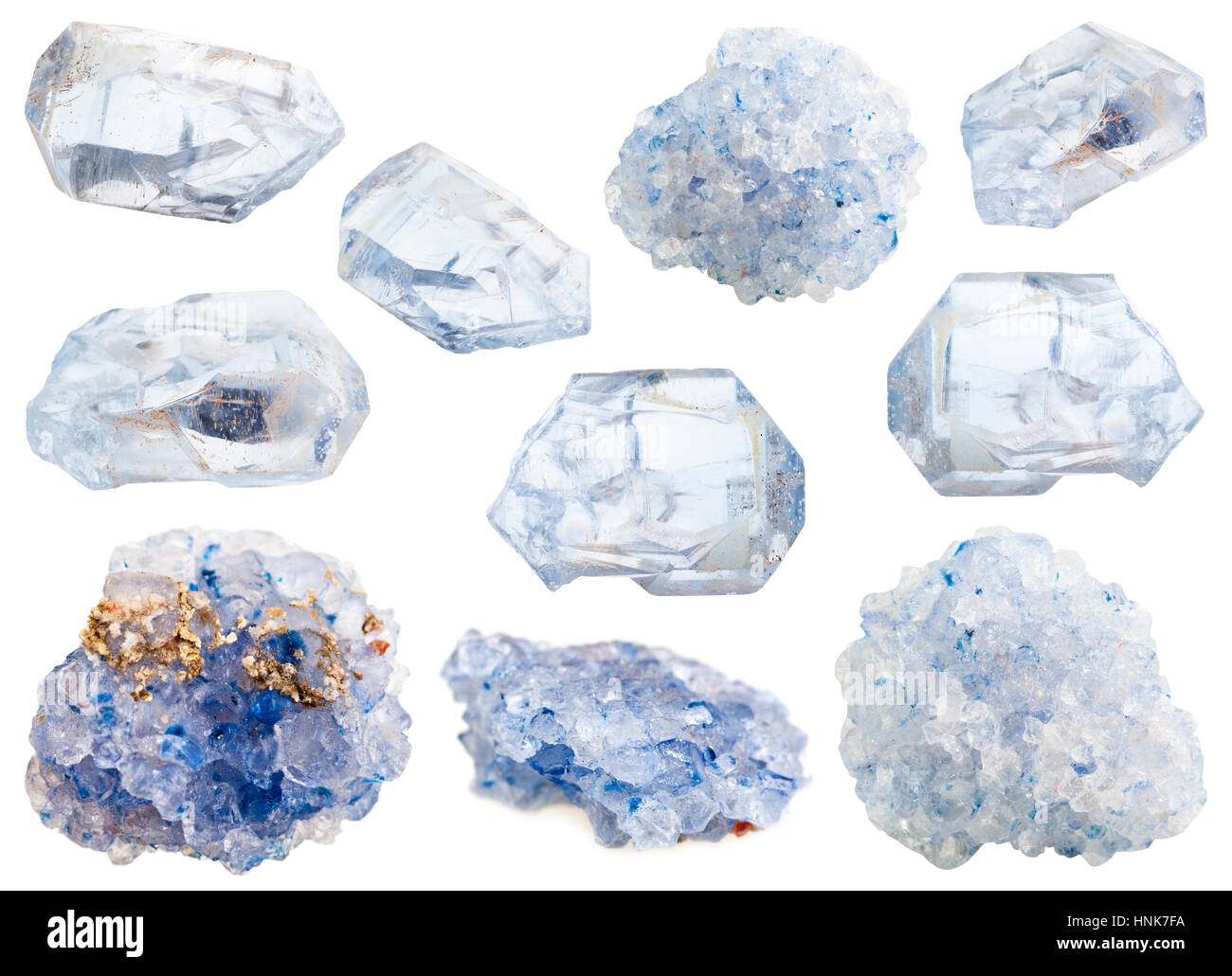 collection of various celestine mineral stones isolated on white background - Stock Image