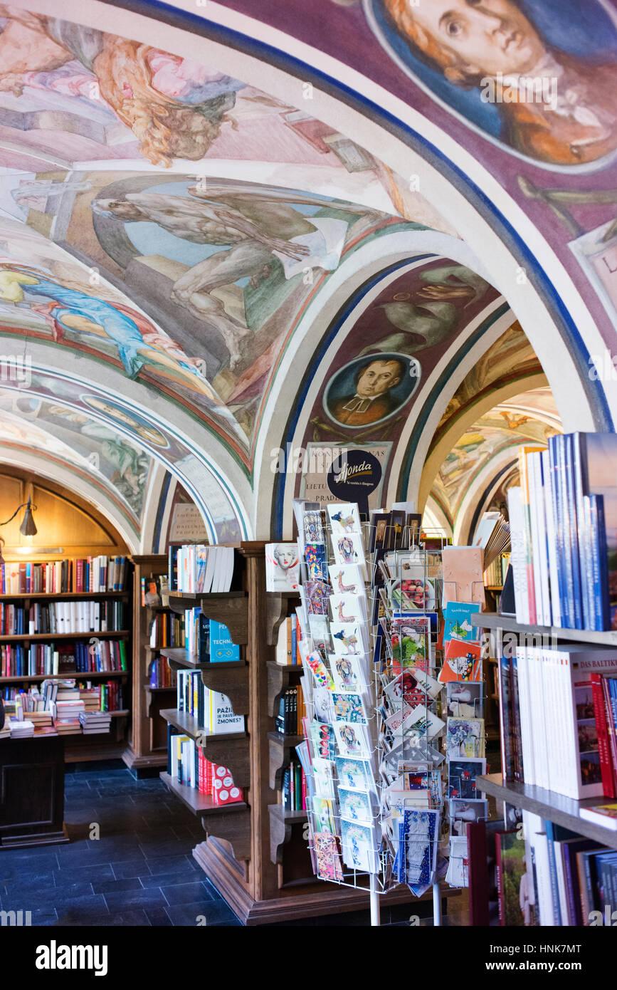 Murals in the Vilnius University bookstore. Stock Photo