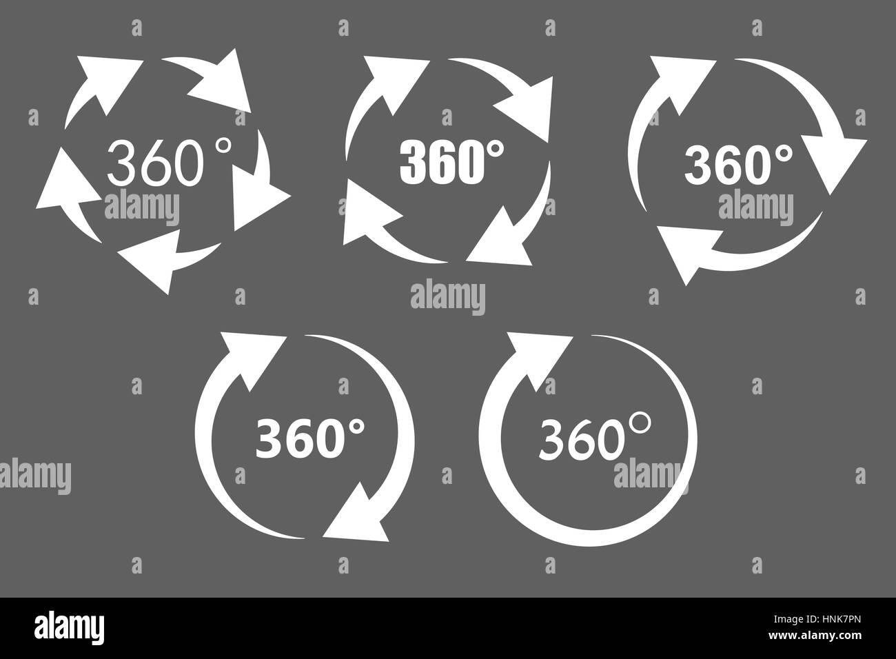 360 degree rotation icons - Stock Image