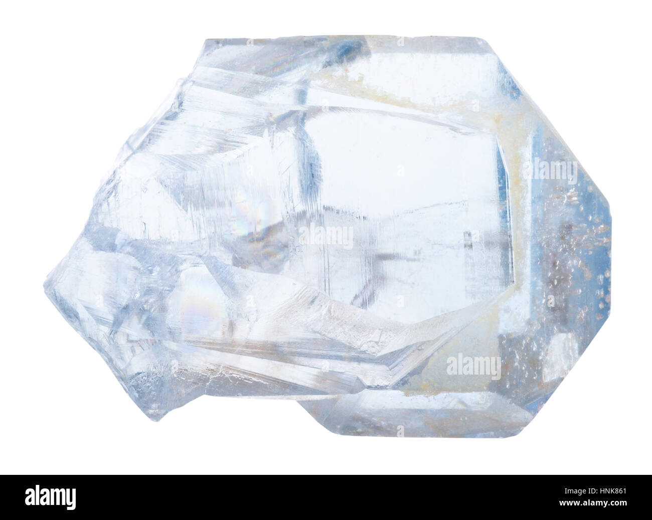 macro shooting of geological collection mineral - crystal of celestine stone isolated on white background - Stock Image