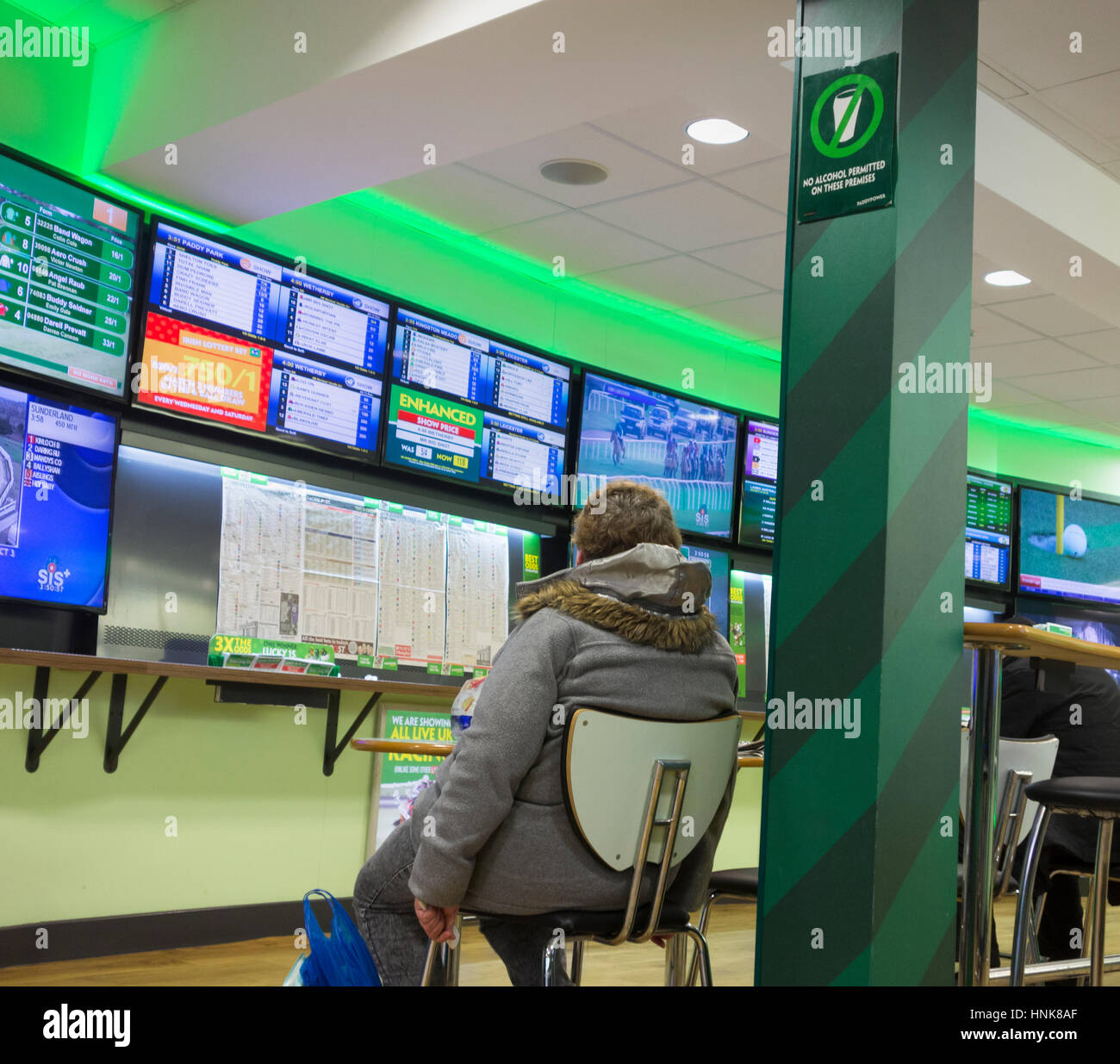 Woman looking at screens in Paddy Power Betting shop. UK - Stock Image