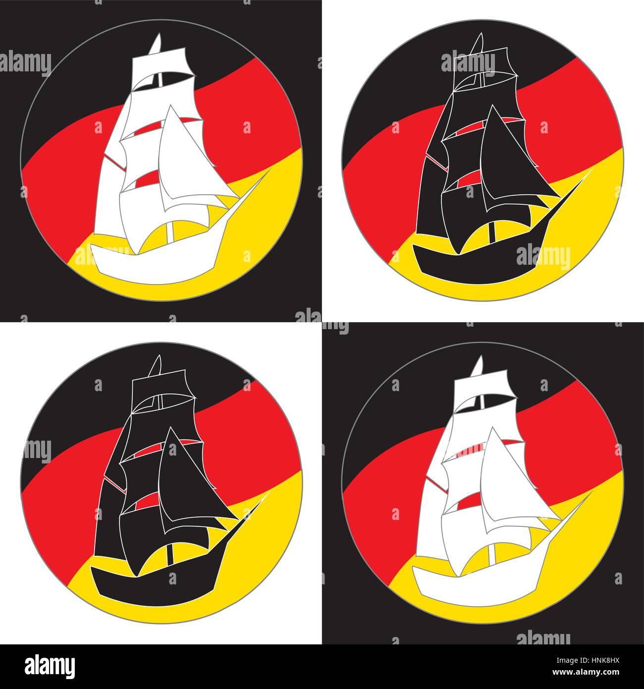 vintage ship logo sailing boat design vector template ancient