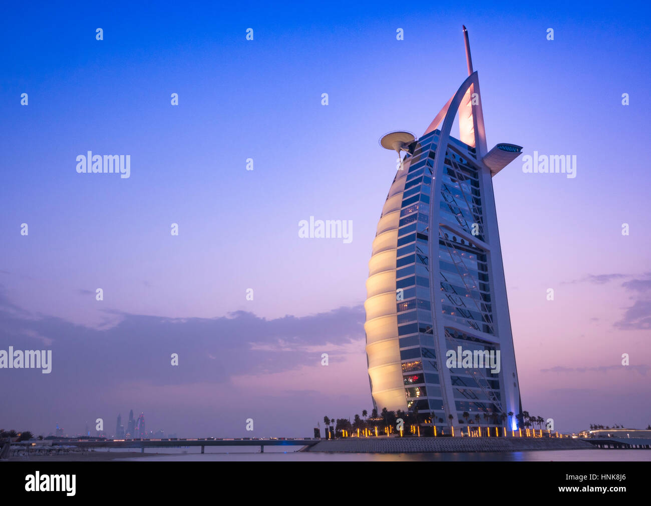DUBAI, UAE - JANUARY 20 : Burj Al Arab - a 7-Star Hotel and one of the most famous landmark of United Arab Emirates. - Stock Image