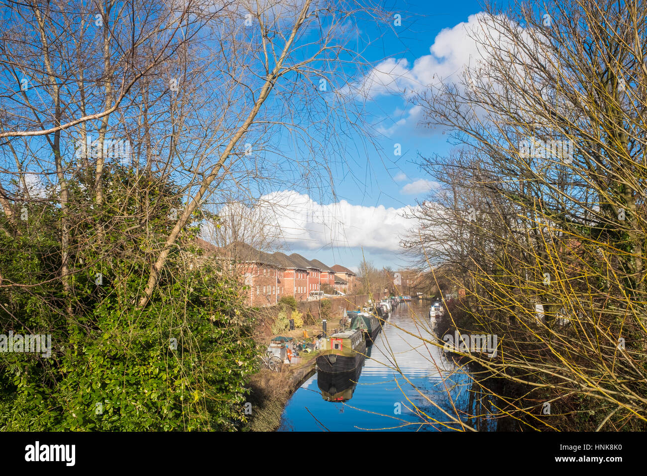Beautiful View of Birmingham Canal with Canal Boats Seen Stock Photo