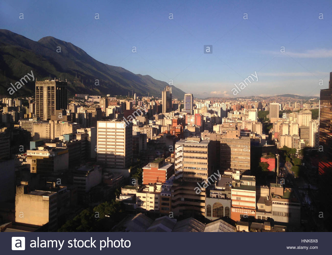 Caracas skyline. View of Caracas and El Avila National Park, Venezuela. - Stock Image