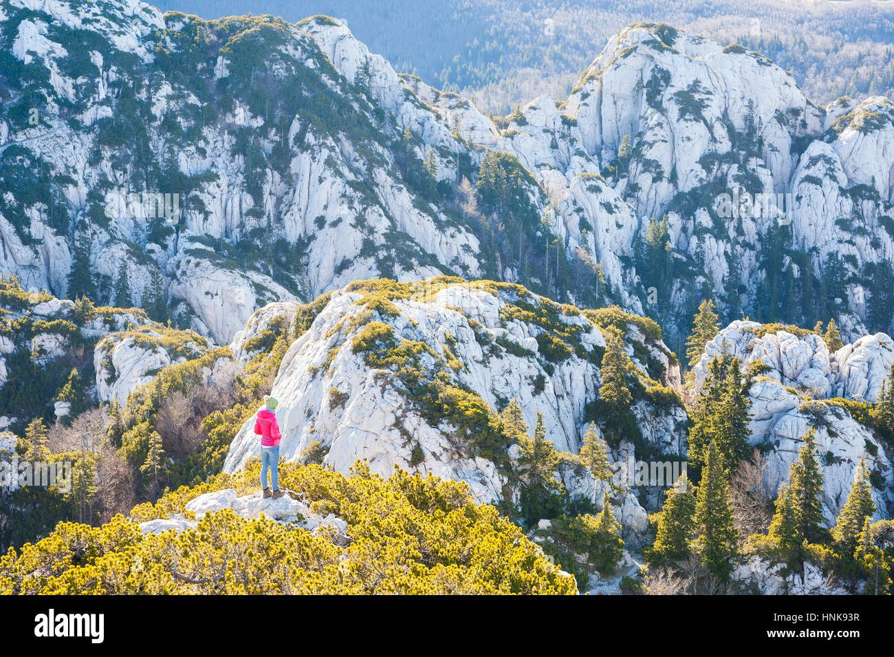 Hiking on Velebit mountain, Croatia. Northern Velebit National Park. Stock Photo