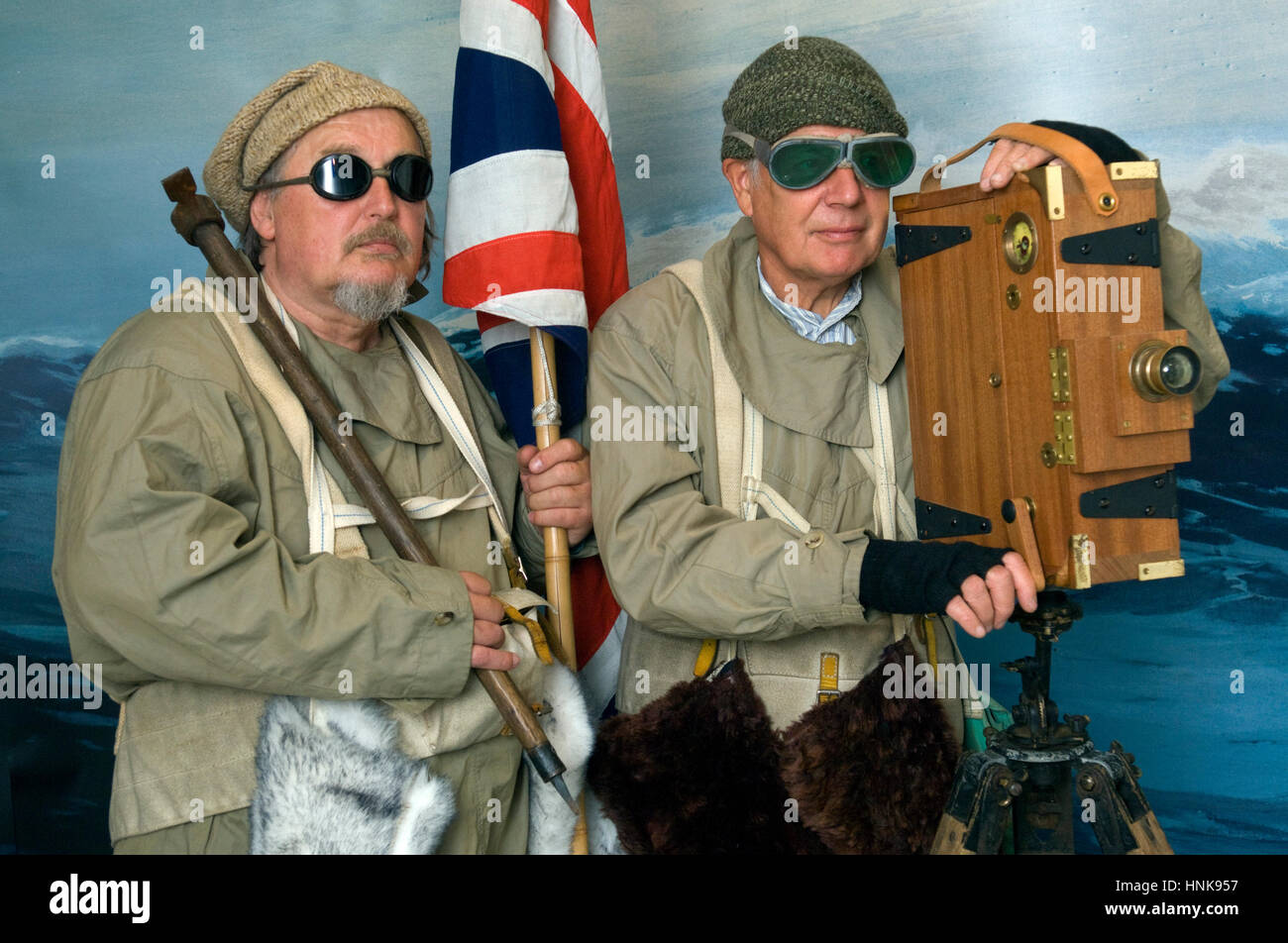 Polar explorer reenactors, Bob Leedham (beard) and Mick Parker, who dress in authentic clothing and use period equipment - Stock Image