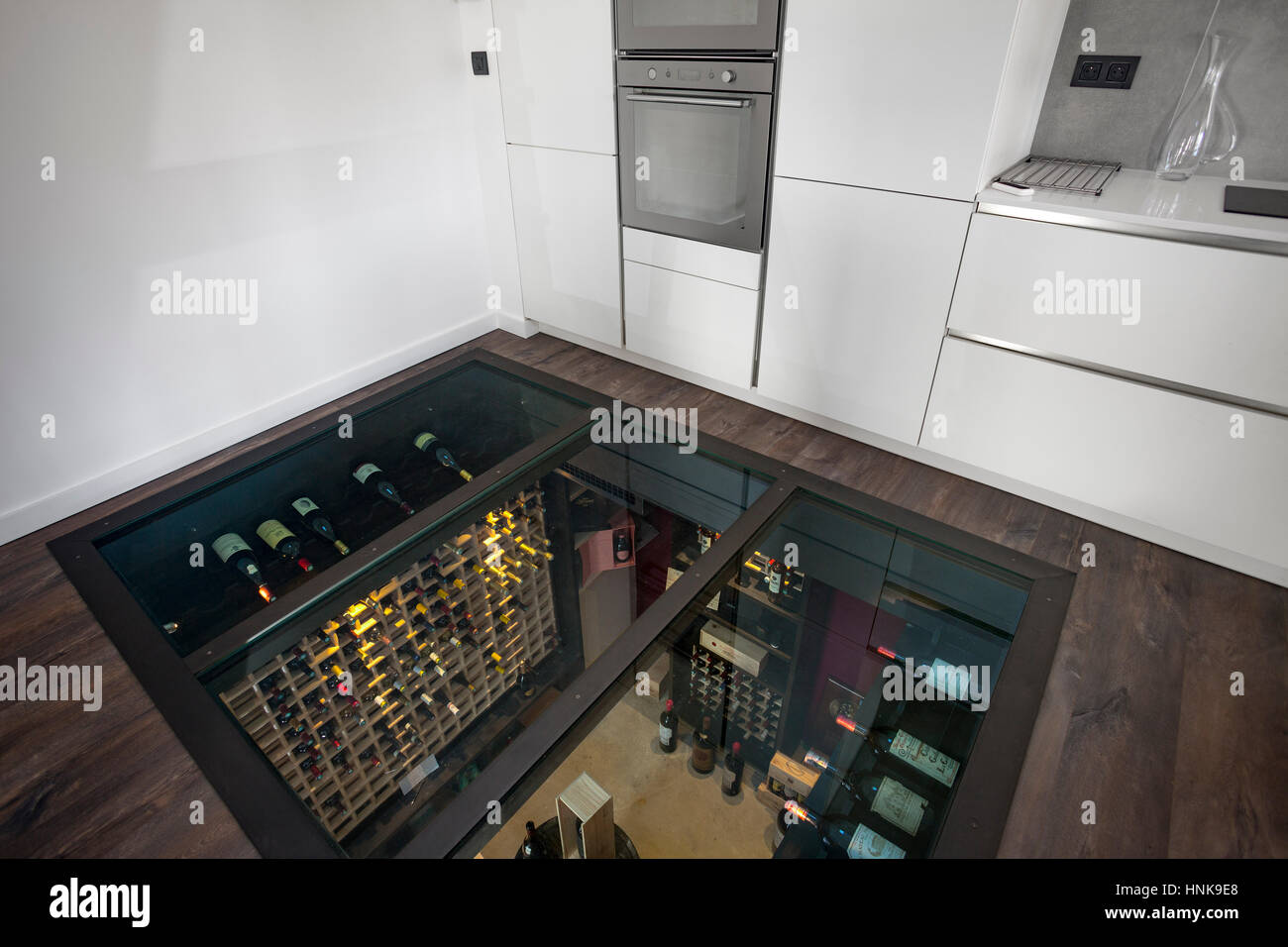 Residential wine cellar. A personal refrigerated wine room ...