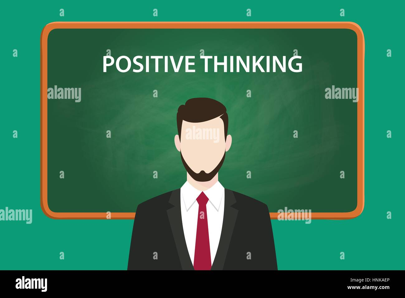 positive thinking illustration with a bearded man wearing black suit in front of green chalk board and white text - Stock Vector