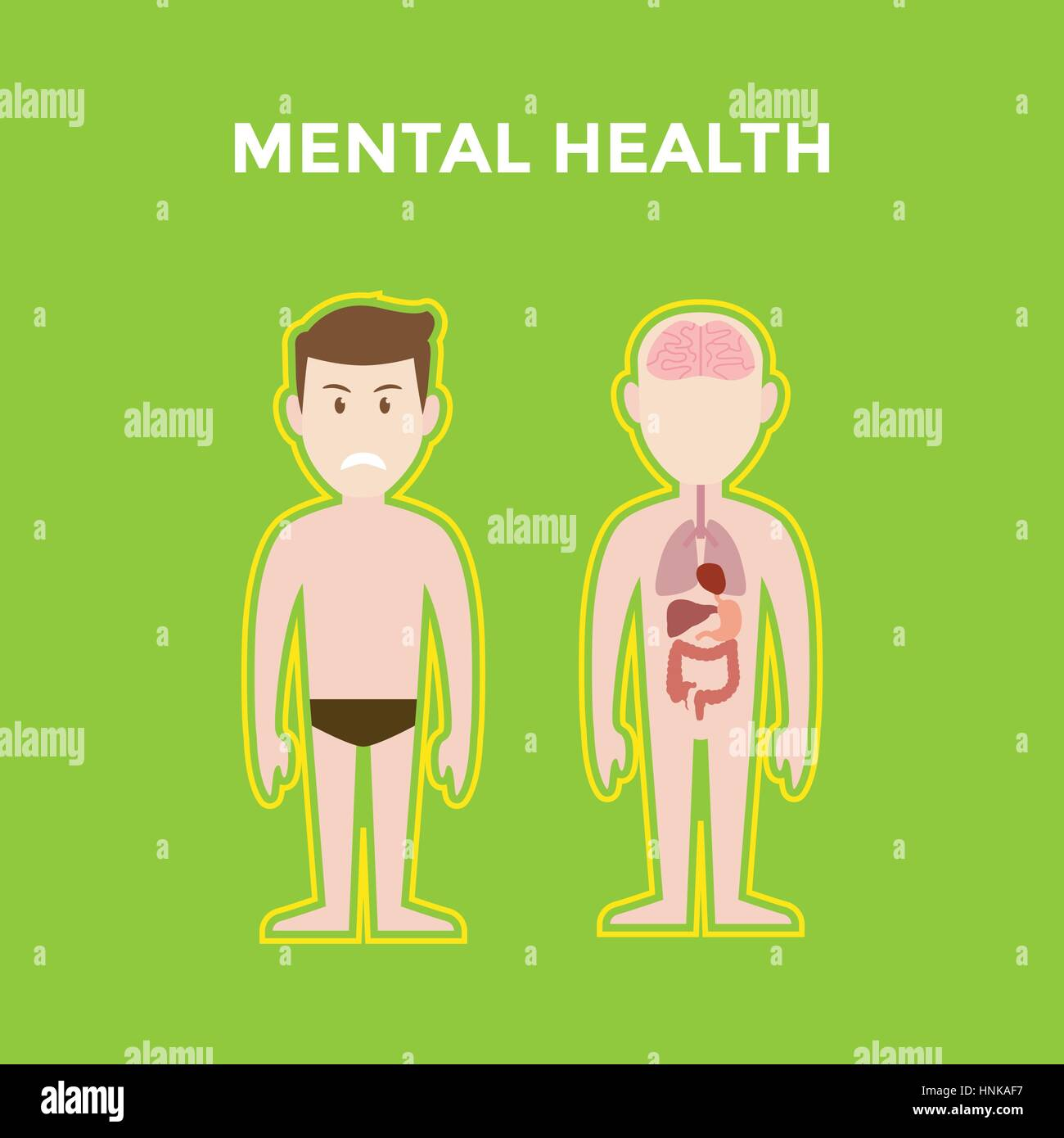mental health illustration with two bodies shows its organ such brain, lung, heart and liver and also a smiling - Stock Vector