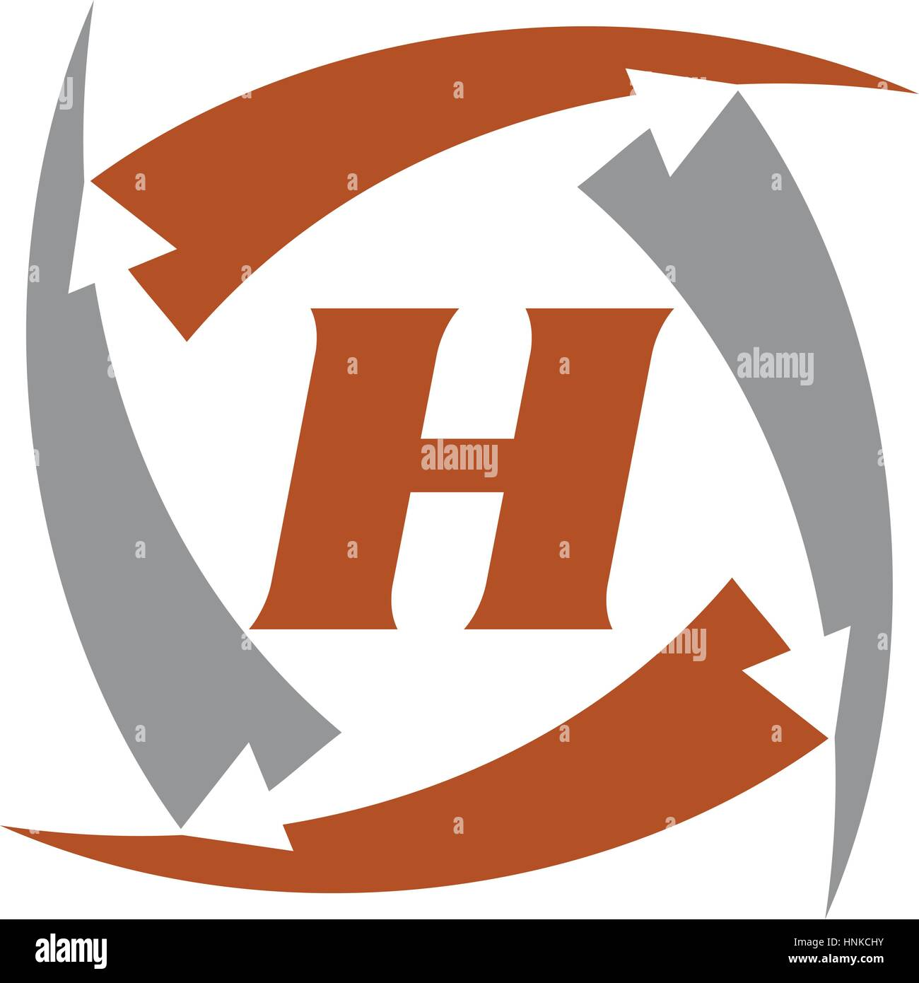 Arrow Rotation Swoosh Letter H - Stock Vector