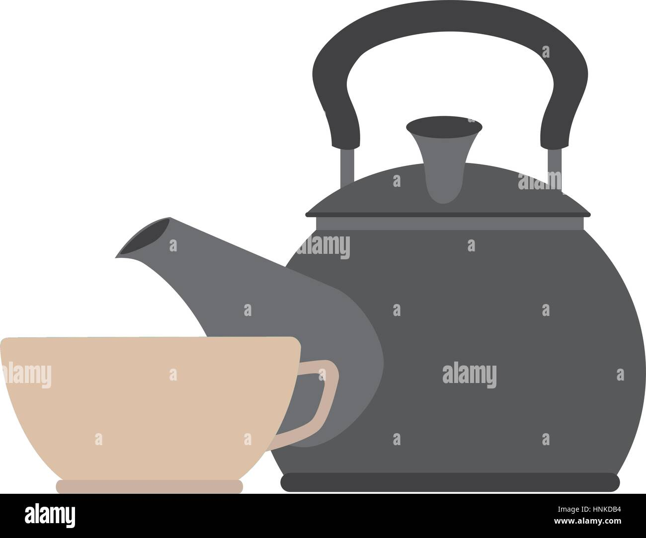 colorful silhouette with tea kettle and porcelain cup vector illustration - Stock Vector