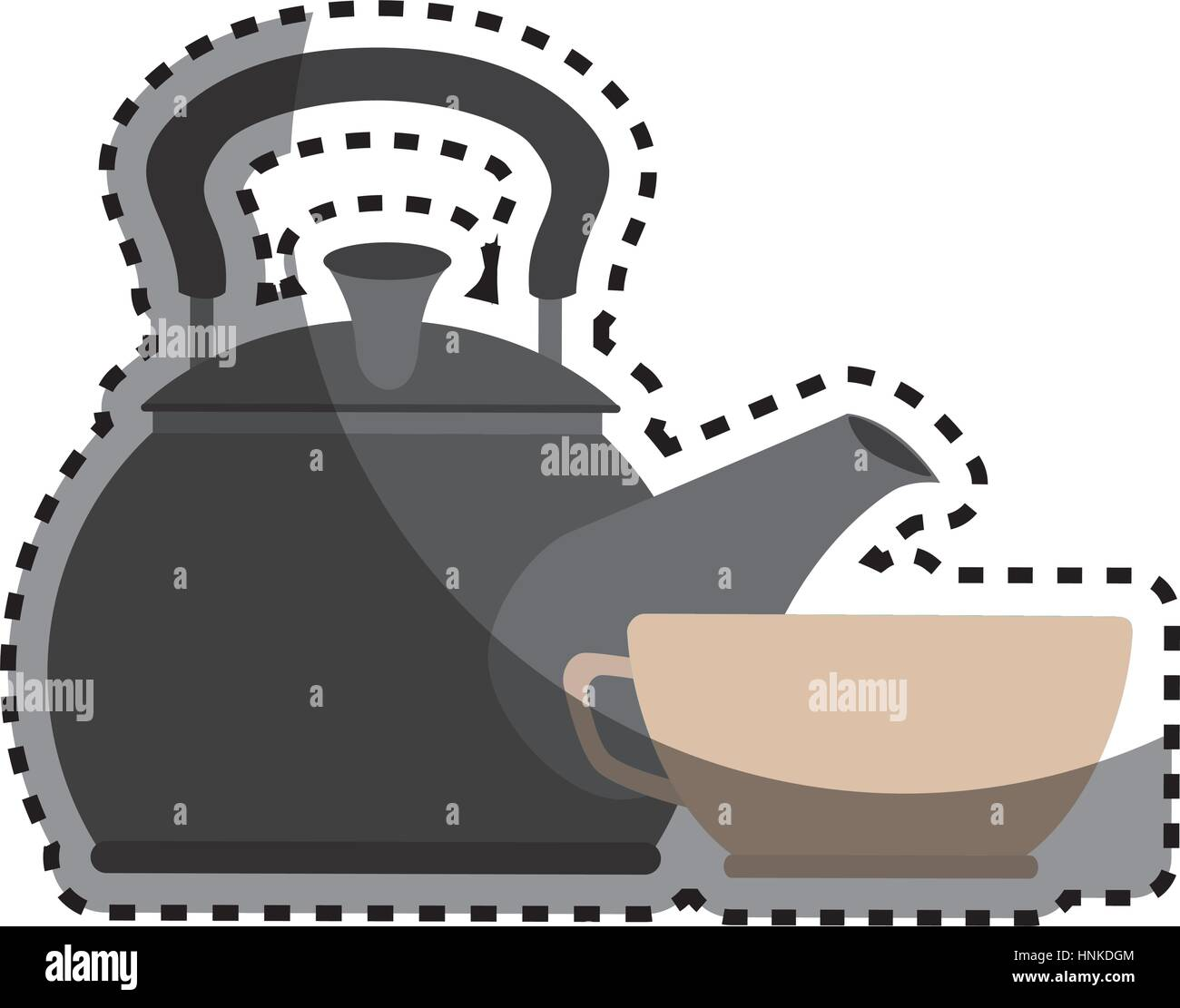 sticker colorful silhouette with tea kettle and porcelain cup vector illustration - Stock Vector