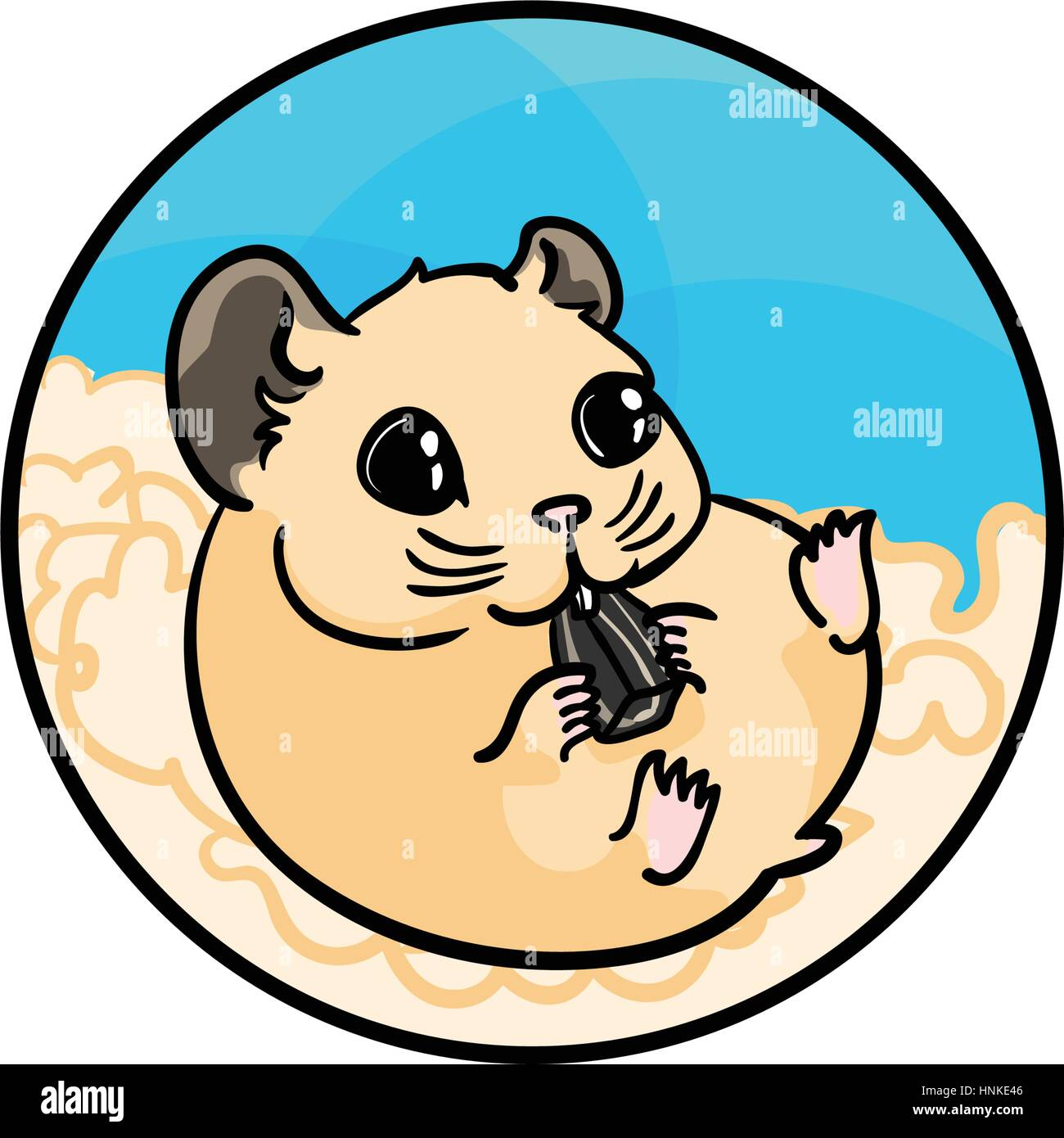 Syrian hamster eating sunflower seed. Animal art, cute cartoon style, vector hand drawn illustration. Suitable for - Stock Image