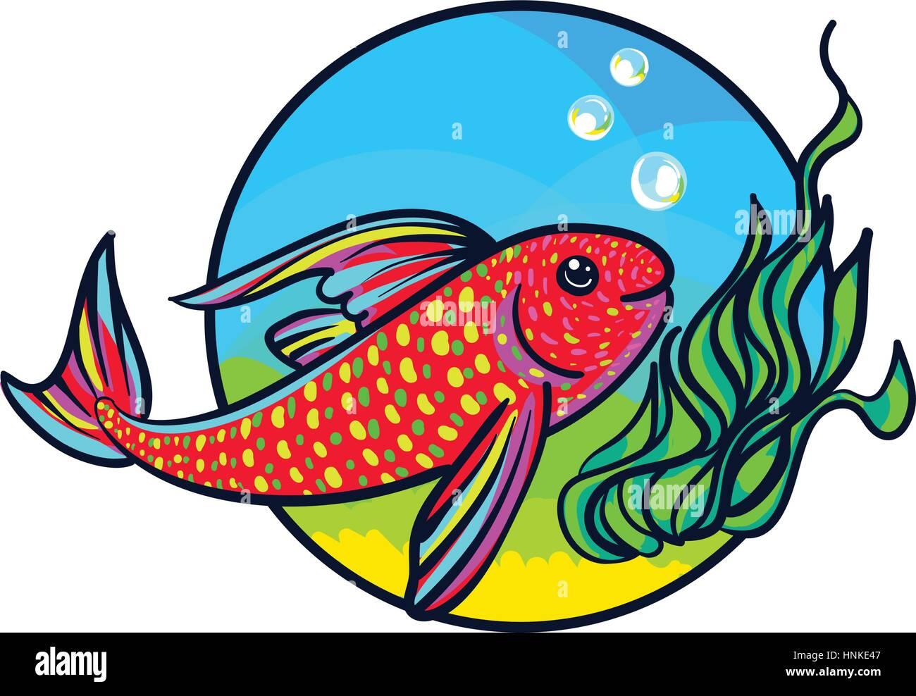 Bright Aquarium Fish. Tropical Animal art, cute cartoon style ...
