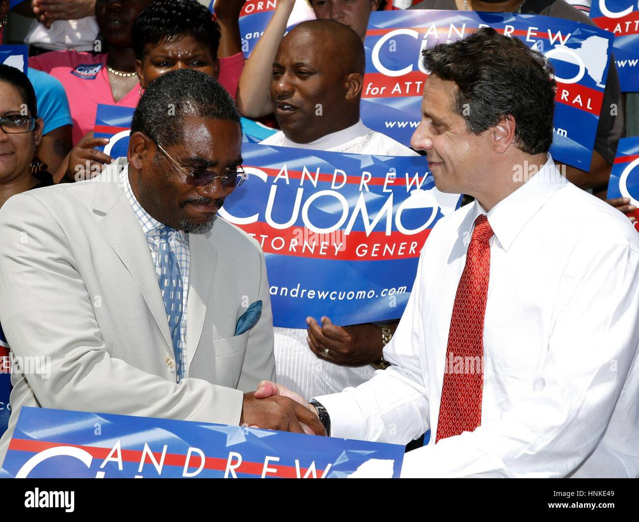Attorney general candidate Andrew Cuomo and congressman Gregory Meeks discuss the fight for civil rights and empowerment - Stock Image