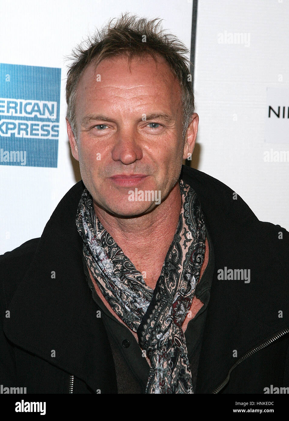 Musician Sting attends the 'Moon' premiere during the 2009 Tribeca Film Festival at the TPAC Theater on - Stock Image