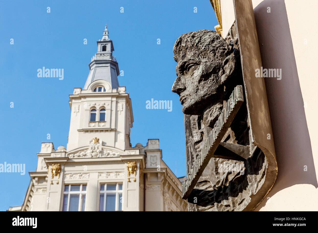 The bronze bust of Franz Kafka on the native house, Prague, Czech Republic Stock Photo