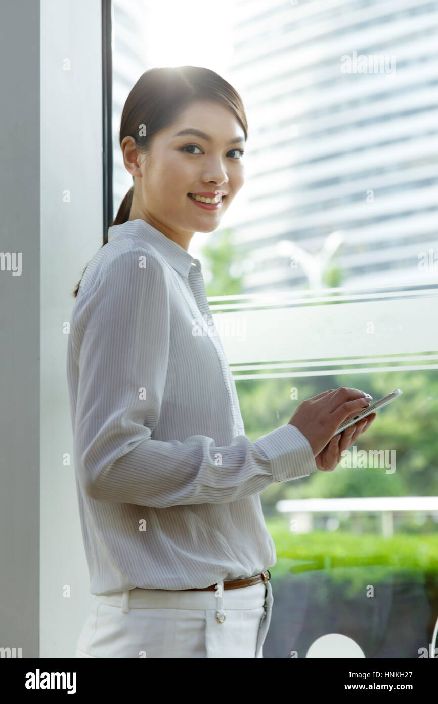 Business women use tablet PCs Stock Photo