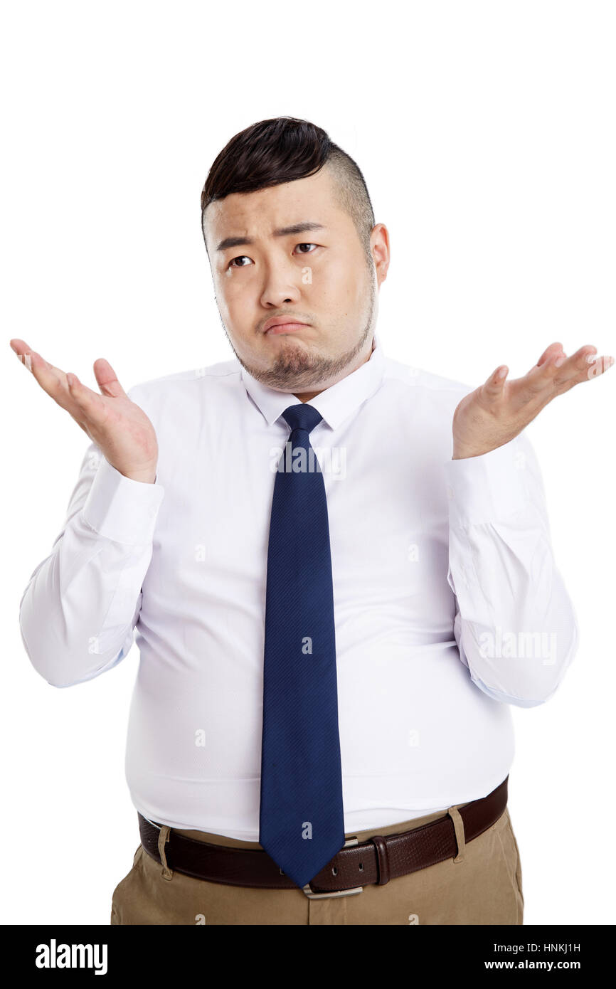 Frustrated business fat man - Stock Image