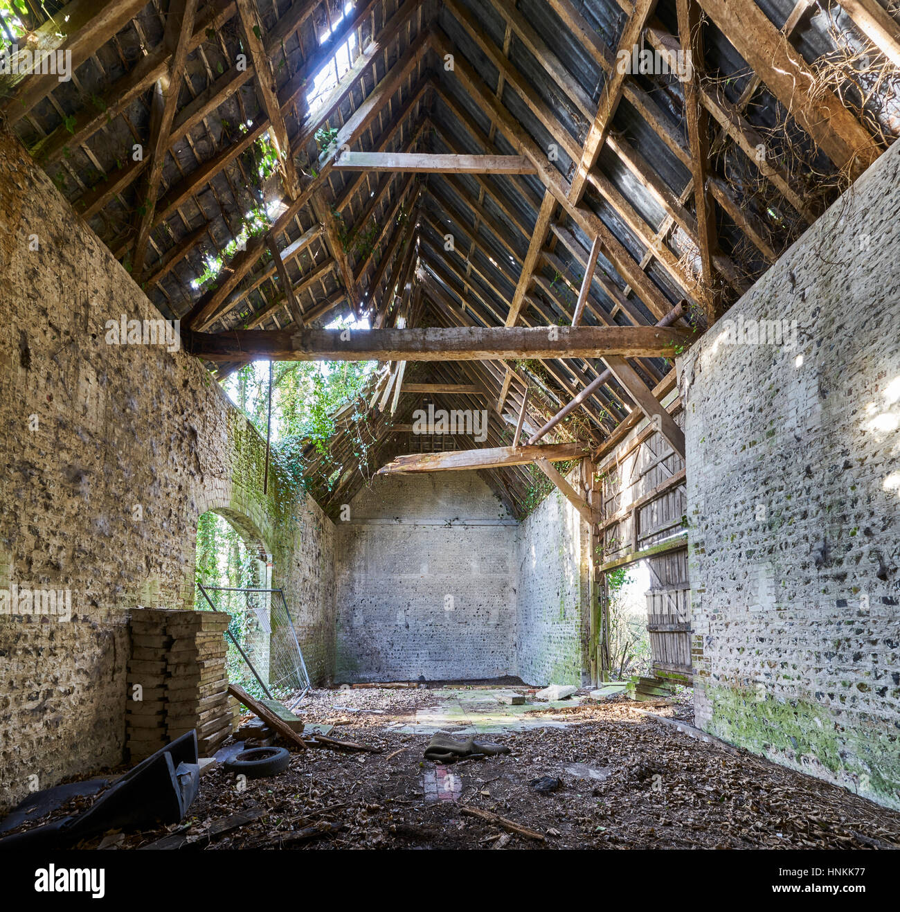 The Interior Of A Dilapidated Collapsing Old Barn
