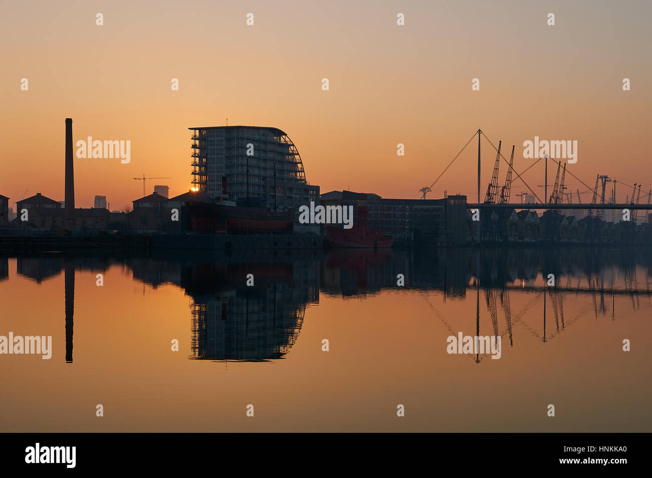 Royal Victoria Dock at Silvertown East London at sunset - Stock Image