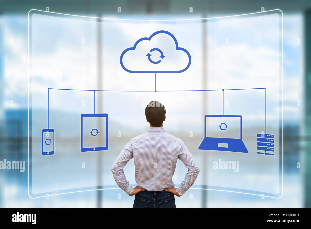 Cloud synchronizing between devices concept with a virtual screen showing mobile phone, tablet and laptop computer Stock Photo