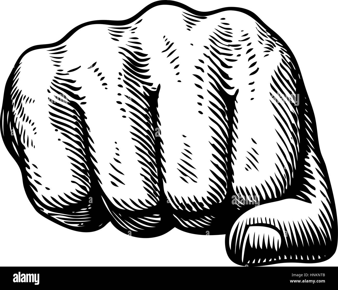 Fist, hand gesture sketch. Punch symbol. Vector illustration isolated on white background - Stock Image