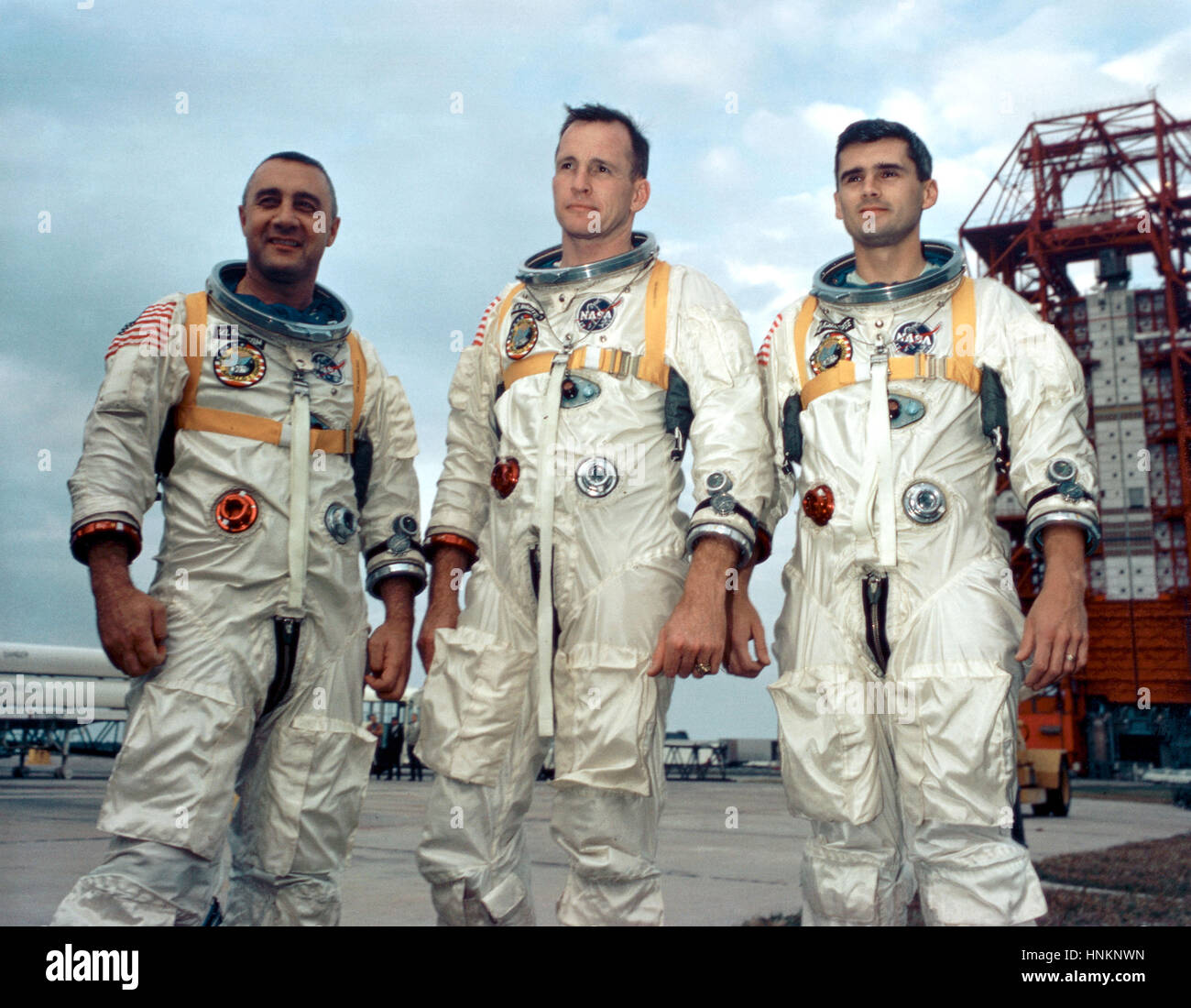 Astronauts, from the left, Gus Grissom, Ed White II and Roger Chaffee stand near Cape Kennedy's Launch Complex 34 Stock Photo