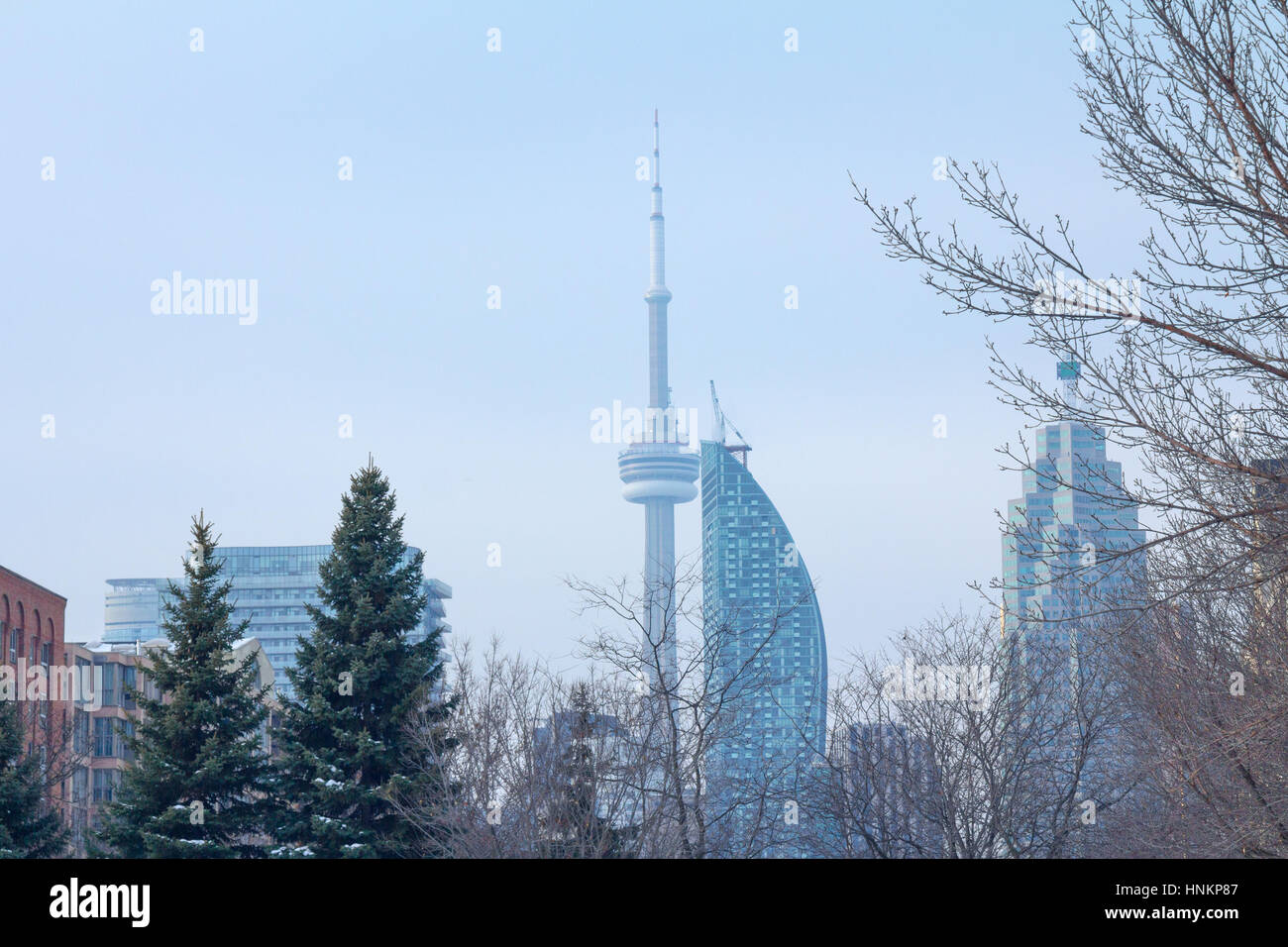 TORONTO, CANADA - DECEMBER 21: CN tower (Canadian National) in a cold morning of winter seen from a residential - Stock Image