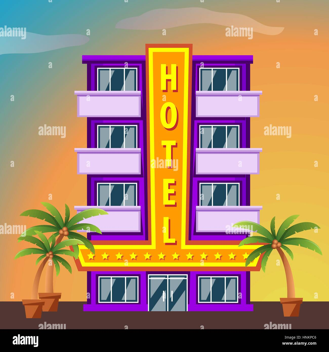 Hotel on city landscape modern hotel building flat style for Asino amiatino