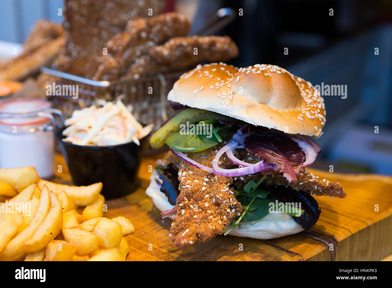 Chicken Schnitzel Sandwich Stock Photo Alamy