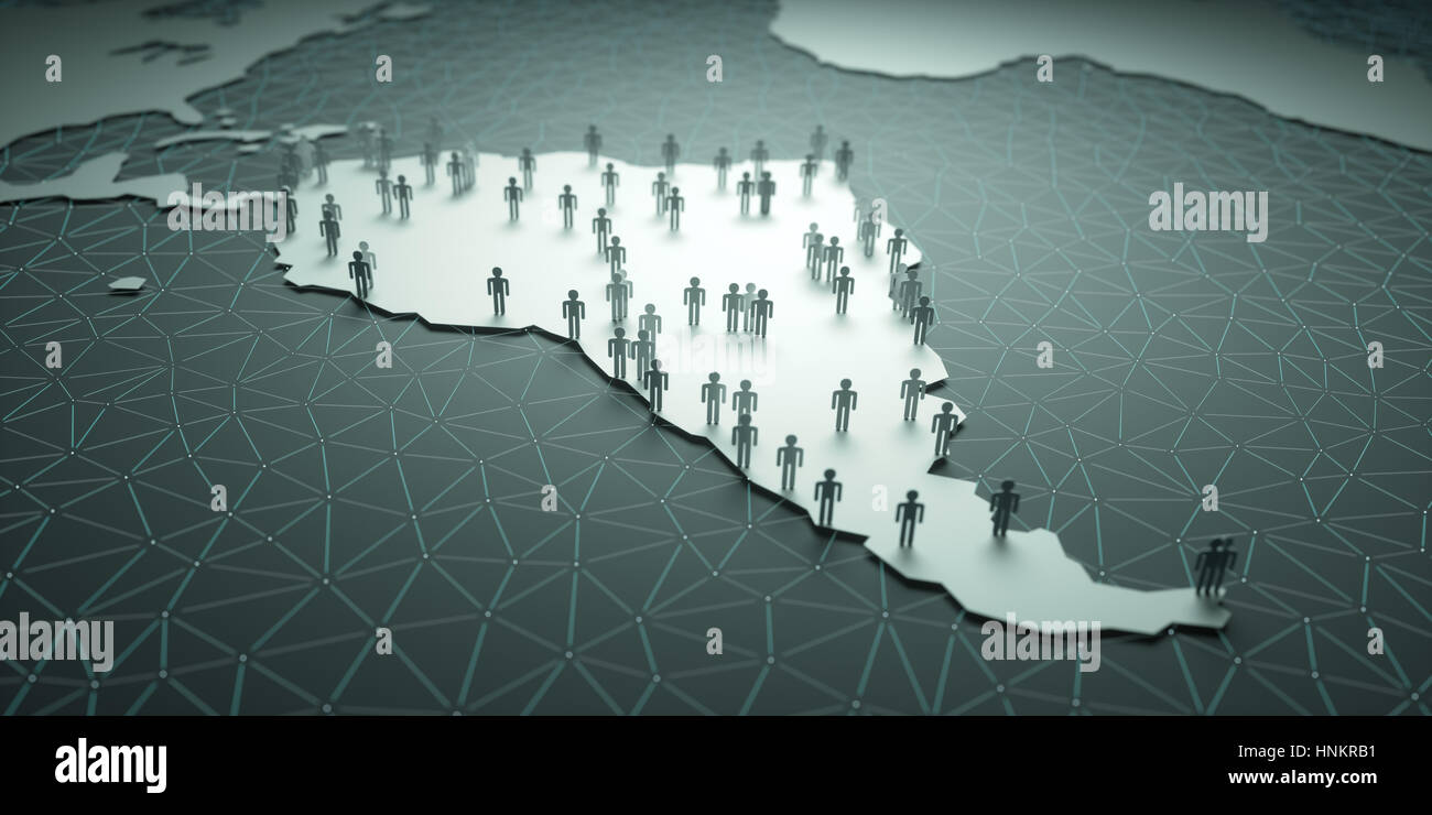 3D illustration of people on the map, representing the country's demography. Stock Photo