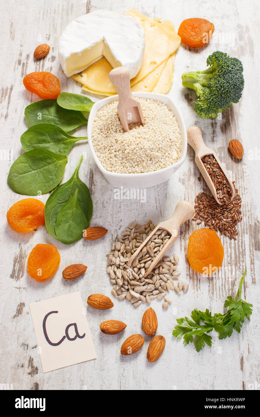 Ingredients or products containing calcium and dietary fiber, natural sources of minerals, healthy lifestyle and - Stock Image