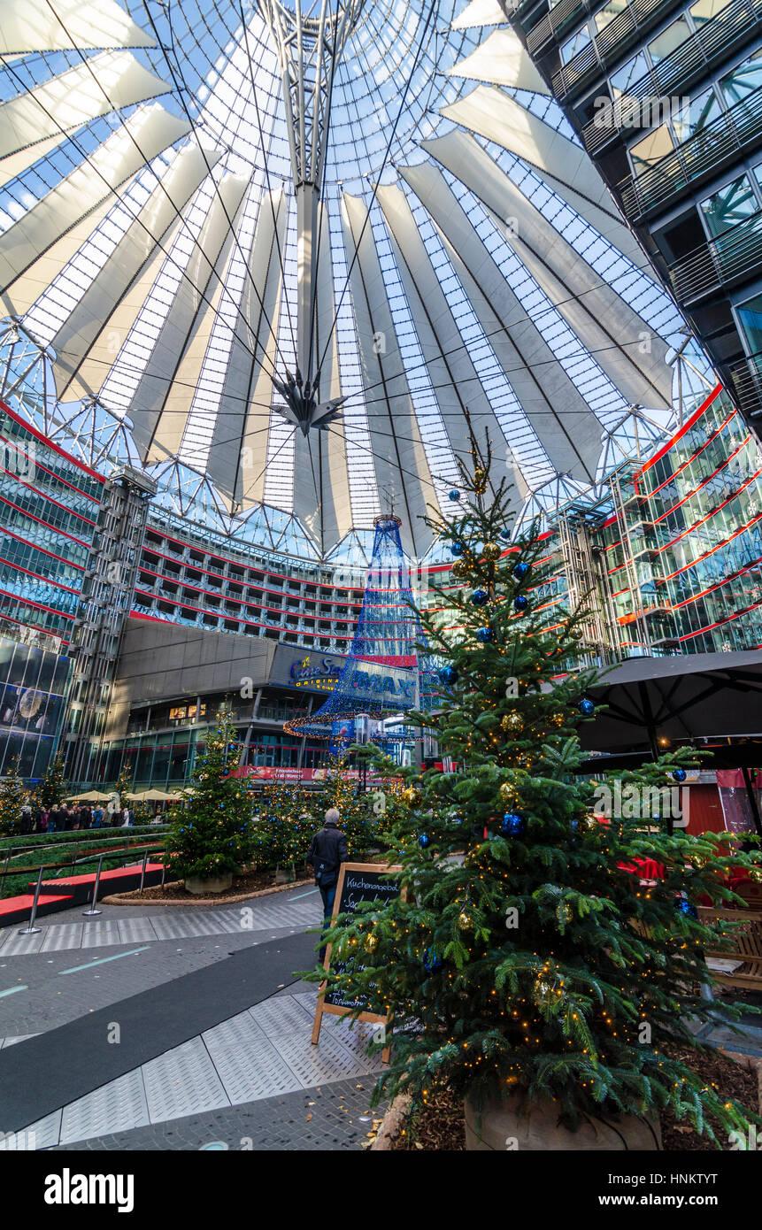 Christmas decorations inside the Sony Centre / Sony Center, Berlin, Germany Stock Photo