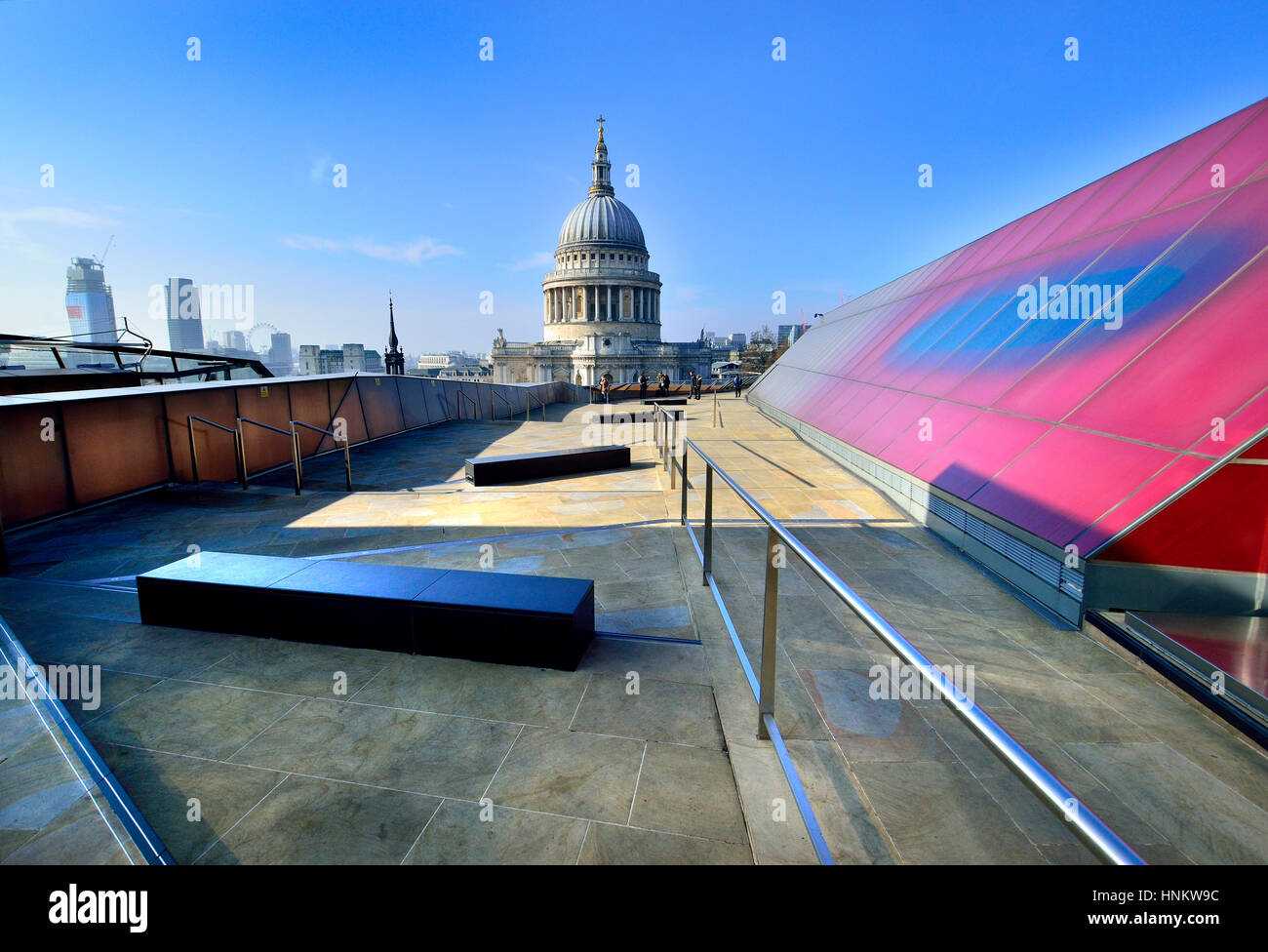 London, England, UK. St Paul's Cathedral seen from One New Change shopping centre roof terrace - Stock Image