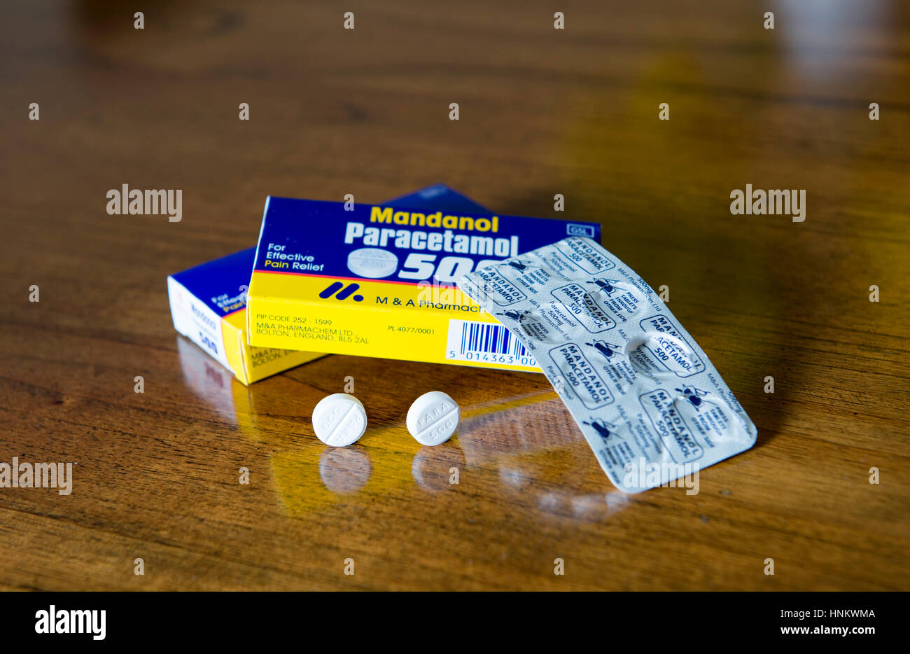 Mandanol Paracetamol tablets for pain relief bought over the counter at pharmacist Photograph taken by Simon Dack - Stock Image