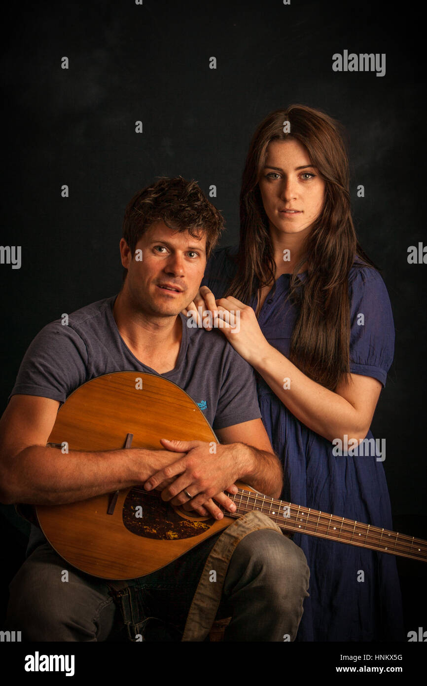 Singer Lucie Jones recording in the studio with folk singer song writer Seth Lakeman for the 'Ballard of Midsomer - Stock Image