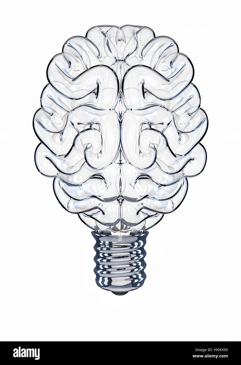 Glass light bulb brain / 3D illustration of brain shaped light bulb - Stock Image