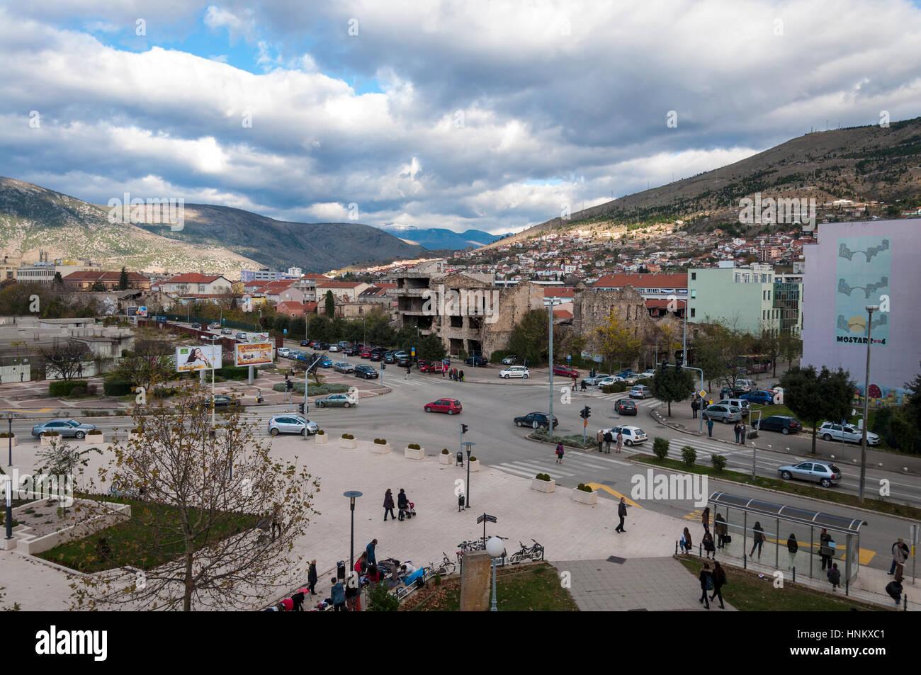 Mostar, Bosnia Herzcegovina, Spanish Square former frontline in war - Stock Image