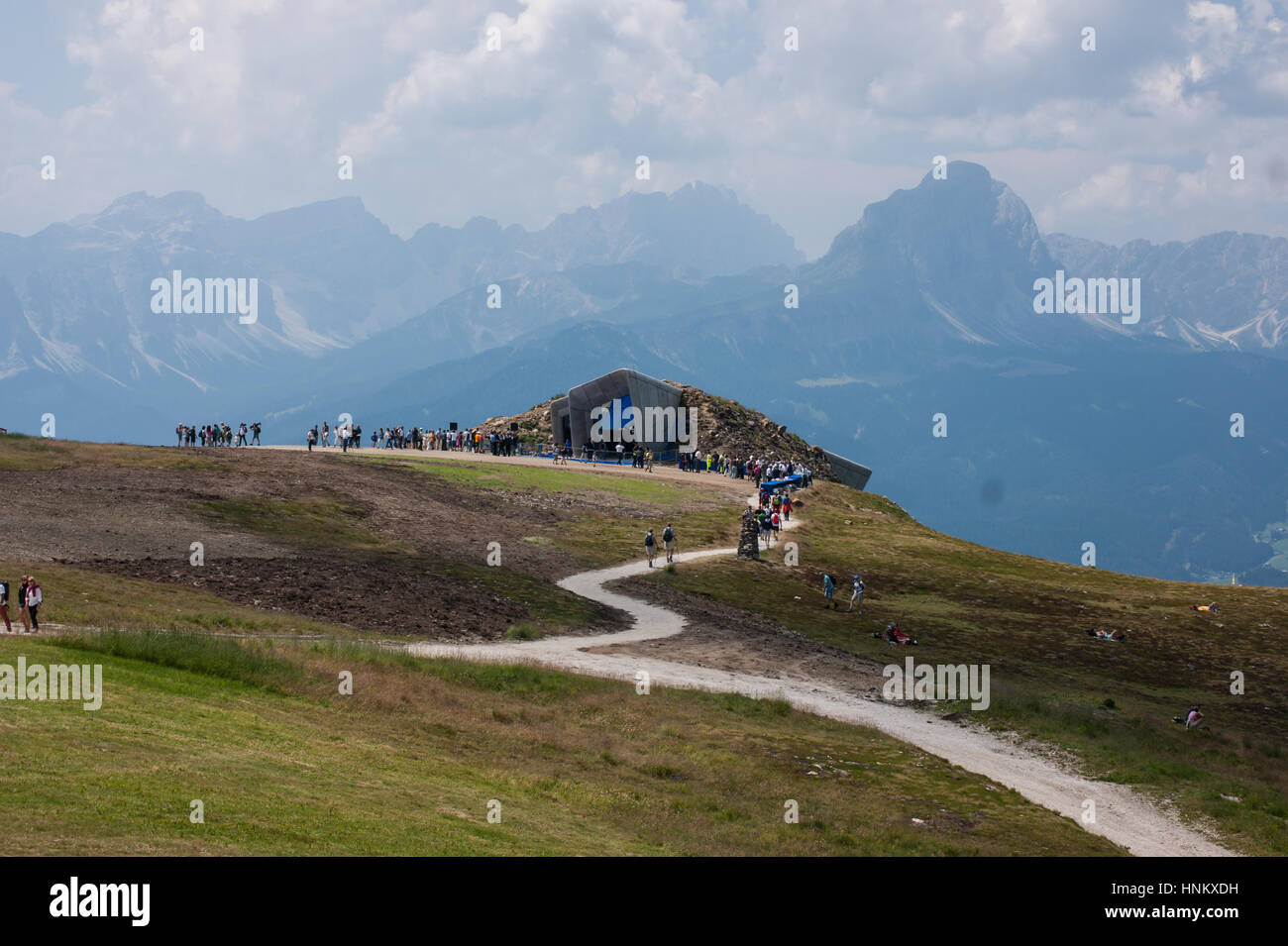 Messner Mountain Museum Corones in the Italian Alps designed by Zaha Hadid Architects, view with the Dolomites panorama - Stock Image
