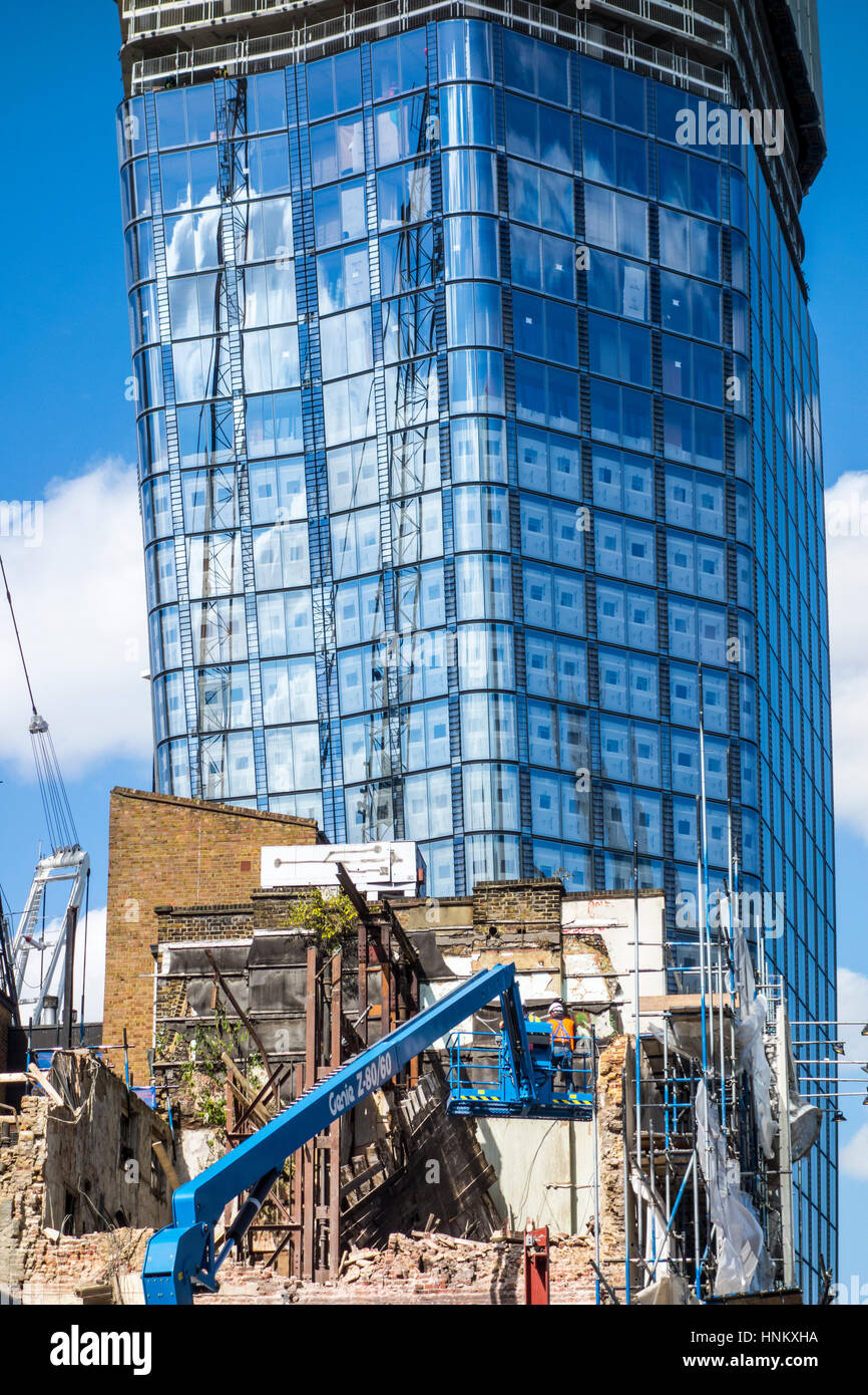 Construction work at the One Blackfriars site with demolition work in the foreground, London, UK - Stock Image