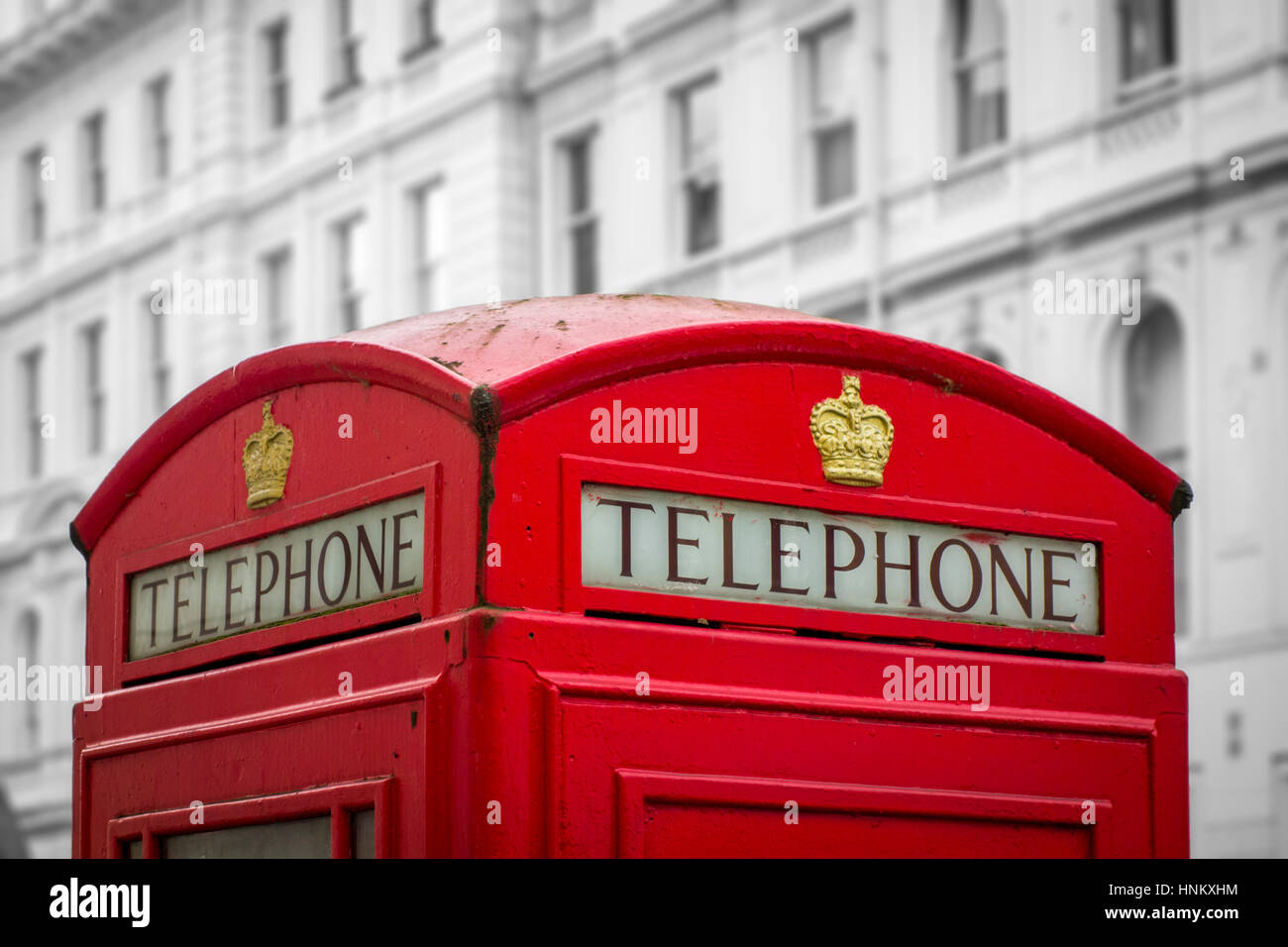 British red telephone box, London, UK - Stock Image