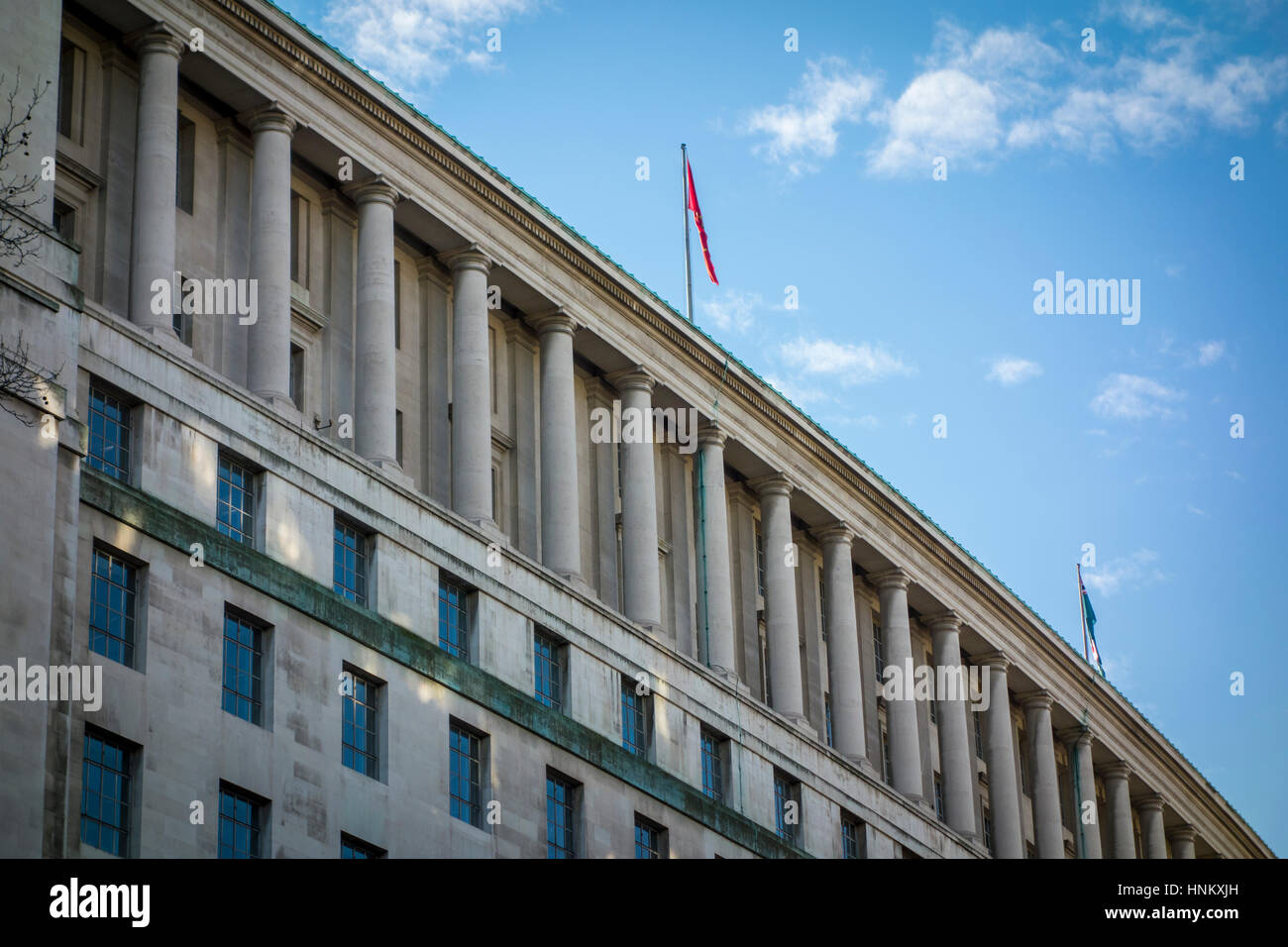 Ministry of Defence, main offices, Whitehall. Viewed from Victoria Embankment Gardens. London, UK - Stock Image